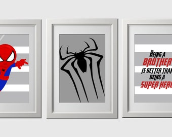 Spiderman Wall Decor brother quote superhero wall art prints super hero wall art