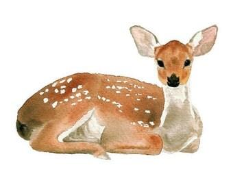 Watercolor Deer- art print woodland nursery art baby deer fawn watercolor art animal art animal watercolor wall art brown white grey 5x7+