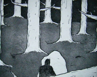 In the Woods – original etching on paper