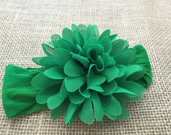 Green flower headband, Green nylon headband, Big flower headband, Headband with big flower, Newborn headband, Headband for Girls