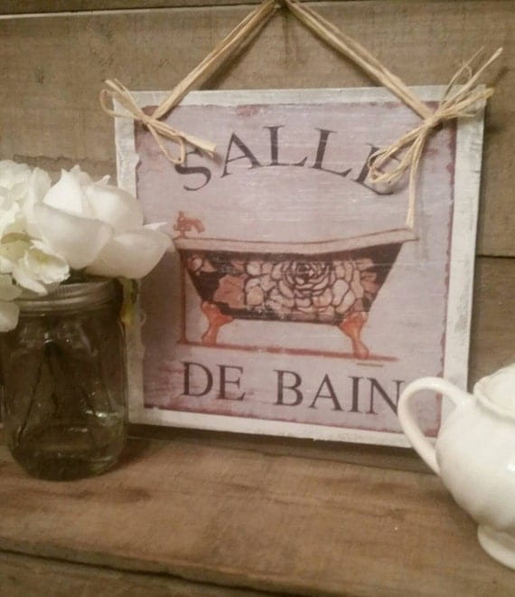 Bathroom powder room french wooden sign decor salle de bain for Salle de bain door sign