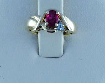 """14k yellow gold ruby & diamond ring; 6 x 4 mm oval ruby, 4.7 grams, size 61/2"""" Gift for her, July birthstone"""