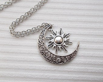 silver sun and moon necklace fashion necklace celestial necklace handmade jewellery sun necklace moon necklace silver necklace gift for her