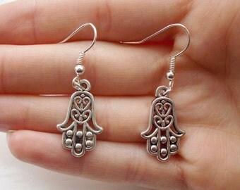 silver earrings hamsa earrings handmade jewellery fashion earrings hamsa hand earrings silver jewellery gift for women silver hamsa charm