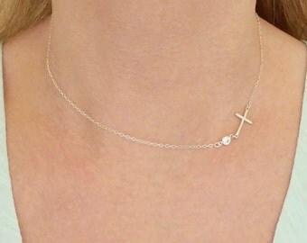 Sideways Cross Necklace + Cross Necklace + Sideways Necklace + Silver Sideways Cross Necklace + CZ Necklace + Sideways Cross + MinimalModern