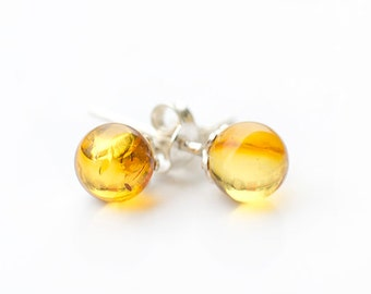 Amber Earrings Sterling Silver Studs Earring  Gemstones earrings natural post studs Golden  Earrings January birthstone gemstone studs