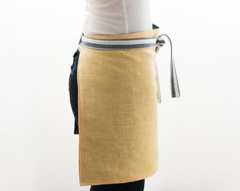 Unisex Bistro Apron | Reversible Linen Half Apron | Yellow and Navy Blue Linen | s/f Designs