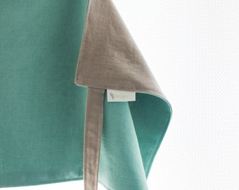 Reversible Bistro Apron, Unisex Linen Half Apron in Turquoise and Gray by Shannon Fraser Designs