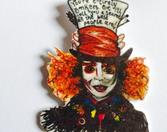 The mad hatter brooch, handmade vrooch, alice in wonderland, mad hatters tea party, hand drawn