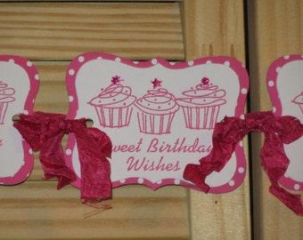 Cupcake Birthday Banner, Sweet Birthday Wishes Banner, Cupcake Banner, Hot Pink Cupcake Birthday, Cupcake Banner, Polka Dot Cupcakes Banner
