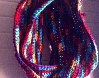 Multicolor Crocheted Infinity Scarf