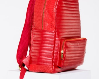 Leather Quilted Python Backpack