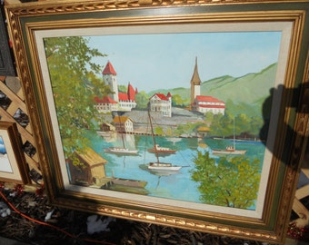 Large Vintage Oil Painting/ Signed/ Sail Boats