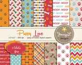 Dog Digital papers, Pet Digital Paper, Paws Scrapbooking Papers, Dog Bones, I Love Dogs, Animal Digital Papers, Puppy Love
