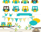 Owl Clipart, Turquoise Owl, Yellow Stitched Owl, Boy Baby Shower Owl, Flowers, Tree Branch, Bunting for Digital Scrapbooking, Invitations,