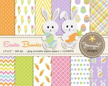 Easter Digital papers, Bunny clipart, HAPPY EASTER, Easter Eggs, Carrot, Rabbit Scrapbooking Paper, Tulip Flower,