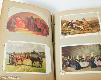 Antique photo album full with vintage art postcard  (GR033)