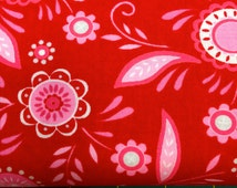 Surrounded By Love by Deb Strain for Moda Valentine's Day Fabric Half Yard Cut Red with Pink Flowers and Hearts 19651 12
