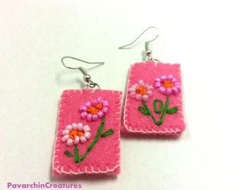 Bead Embroidered Flower and Felt Earrings – One of a Kind – Simple - Whimsy