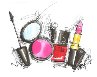 Makeup print, Fashion illustration, Makeup illustration, Makeup painting, Makeup art, Beauty illustration, Fashion print, Beauty painting