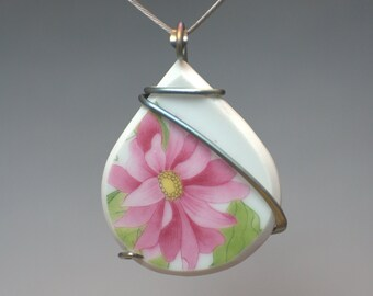 Pink Flower Ceramic Cold Forged Anodised Titanium Pendant