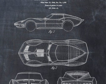 Patent Print of a Corvette - Patent Art Print - Patent Poster - Car - Auto - Automobile