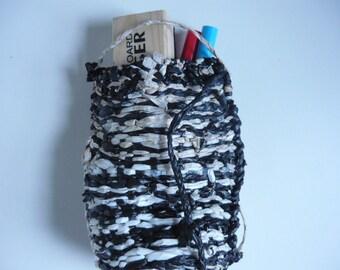 Handwoven Recycled Plastic Bag: white, black, tan
