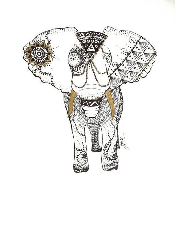 Henna animal drawing elephant pen and ink print from original henna