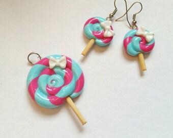 Lollipop set pendant and earrings