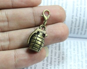 Hand grenade charms ( double sided and 3D )  22*13*11mm Antique brass connector