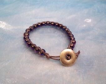 Beaded Leather Wrap Bracelet Czech Glass
