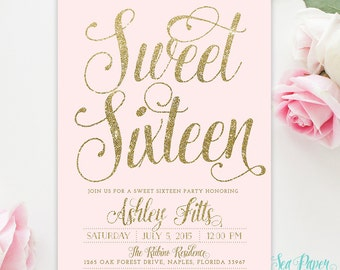 Sweet Sixteen 16th Birthday Invitation - Blush Pink & Gold Glitter Girl - Shabby Chic Light Pink Pastel Party Invite Printed Digital - Ava