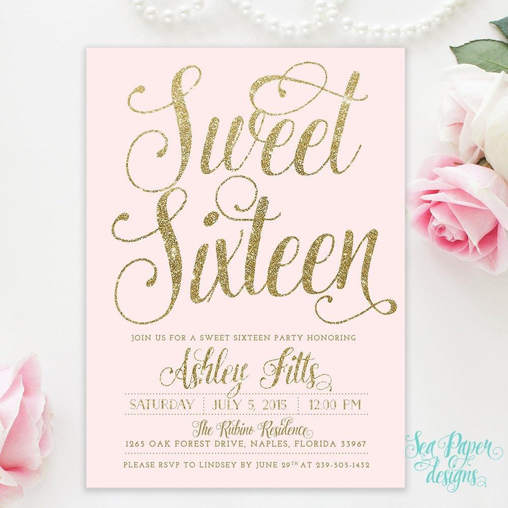 Sweet Sixteen 16th Birthday Invitation Blush Pink & Gold