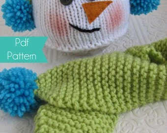 Snowman Hat and Scarf Set -  Knitting Pattern - 3 sizes