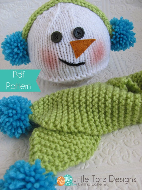 Snowman Hat Knitting Pattern : Items similar to Snowman Hat and Scarf Set - Knitting Pattern - 3 sizes on Etsy