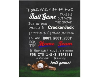 Take Me Out to the Ball Game sign,ballgame sign boys room baseball art print,pick your team,baseball poster,custom boy's room baseball decor