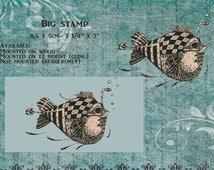 "Stamp BIG"" American design fish in zentangle design"