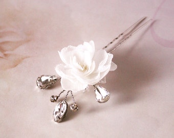 Bridal silk rose hair pin, headpiece - Flower hair pin, Ready to Ship