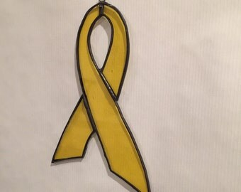 Show your Support, Support our Troops, Yellow Awareness Ribbon, Sun Catcher