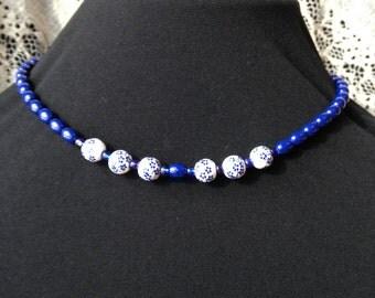 dark blue summer beaded necklace