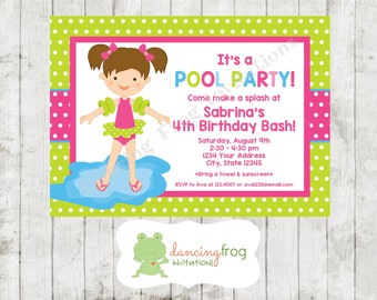 Custom Printed Swimming Pool Birthday Party Invitations