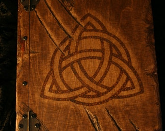 Wooden handmade Book of Shadows with Triquetra and approx 150 sheets of paper