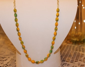 Green and Yellow Pineapple Beaded Necklace with Gold-Plated Spacers