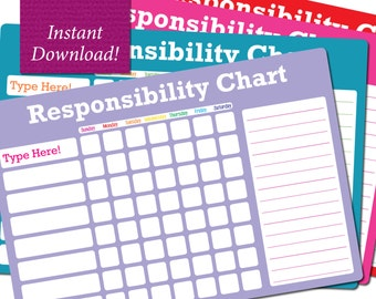 Instant Download - Fillable PDF Chore Chart Responsibility Chart - 4 Colors Included