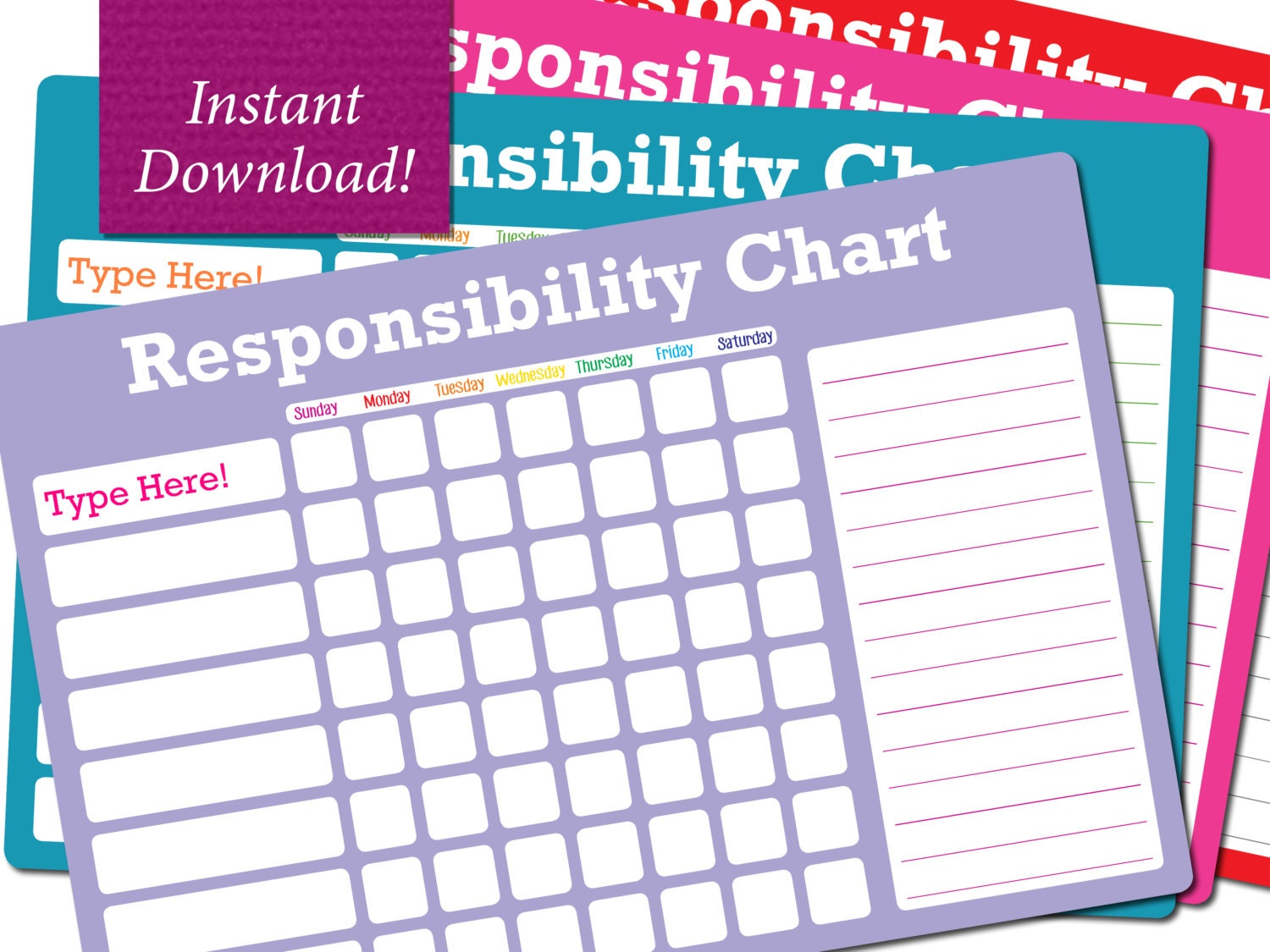 It is a photo of Simplicity Printable Responsibility Charts