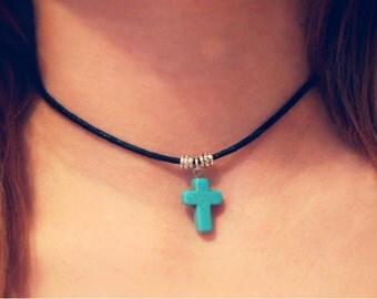 Turquoise gemstone cross choker necklace