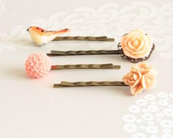 Spring Bobby Pin, Set of 4 Peach and Pink Hair Pin, Flower Bobby Pin Set, Nature Bobby Pin, Bird Bobby Pin Set