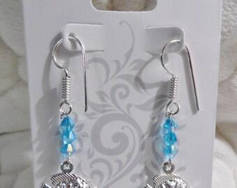 Artisan Silver Fish & Beads Earrings handmade New