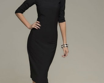 Elegant Black Dress,Evening MIDI Dress Fitted.