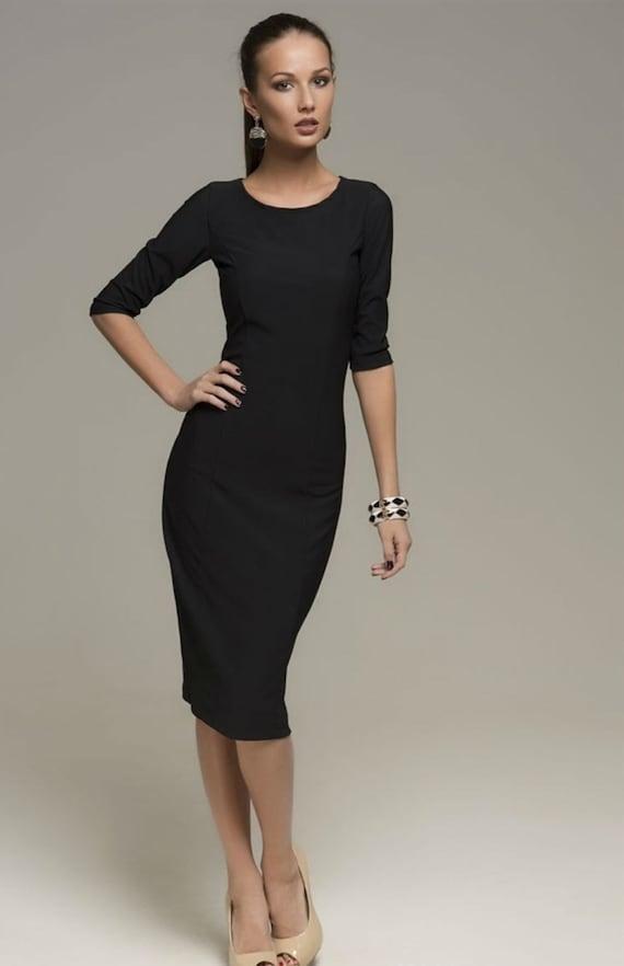 Elegant Black DressEvening MIDI Dress Fitted.